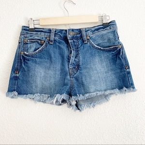Free People High Waisted Button Up Denim Shorts